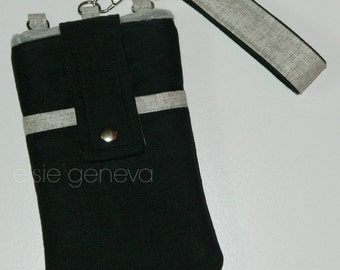Water Repellent Solid Black Navy Blue Brown Grey Teal Aqua Olive Phone Case Wristlet Shoulder Strap iPhone 5 6 6s Plus