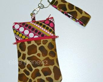 Animal Print Phone Case Wristlet Brown Giraffe Stripe Dots Pink Gold Zipper Closure and Wristlet iPhone 4 5 6 Plus 6S Note Shoulder Strap