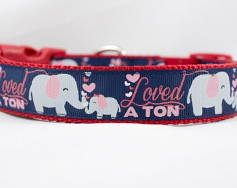 Navy Loved a Ton Elephant Dog Collar, 1 inch wide, buckle or martingale, red, valentines day, love, sparkle, hearts