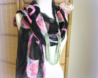 Large Black Silk Fashion Scarf - Nuno Felted Scarf - Pink Roses - ON SALE