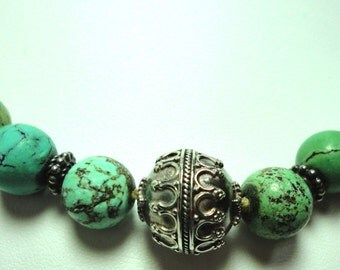 Turquoise Necklace Vintage Untreated Natural Turquoise Bead Necklace with Large Vintage Sterling Bali Beads