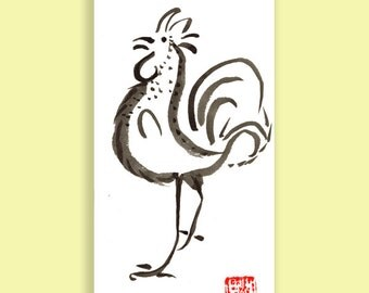 Year of the Rooster, Chinese Zodiac Original Zen Sumi ink Brush Painting, zen decor, child room art, japan style, nursery wall art