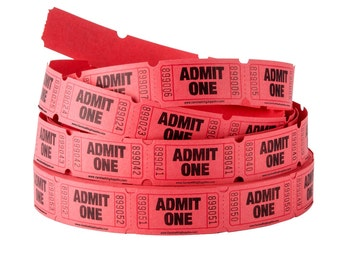 RED single row tickets- choose your quantity- 10, 25, 50, 100, 200 - Wedding Reception Drink Tickets, Raffle, movie night, scrapbooking