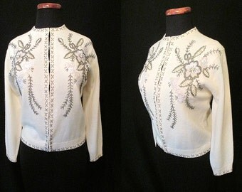 CLEARANCE Lush 1950's Cream Cashmere Sweater with Beading and Sequin Detail Cocktail Sweater Rockabilly Pinup Sweater Girl Size-Large