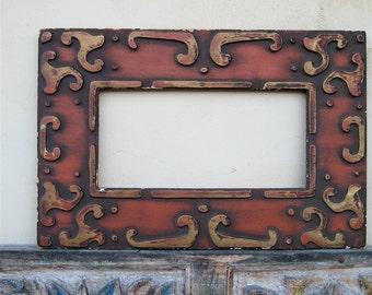 Vintage Carved Wood Frame, Scrolled Woodwork, Raised Design, Home Decor