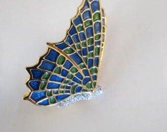 KJL Kenneth Jay Lane Blue Green Enamel & Pave' Rhinestone Brooch