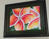 Original Fine Art watercolor painting, Hawaiian Tropical Flower Art, mixed media, Plumeria Framed, Christie Marie Elder