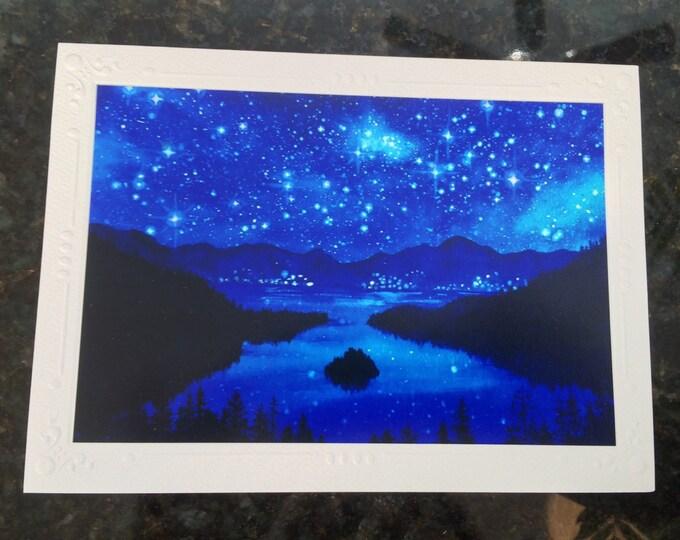 "SET OF 5 Emerald Bay Lake Tahoe starry night Watercolor Art print of painting Embossed Greeting Card, Note Card ""Emerald Nights"""