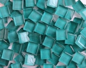 100 (10mm)Teal Sea Green Aquamarine MINI Crystal Glass Tiles 3/8 in.//Mosaic Supplies// Crafts