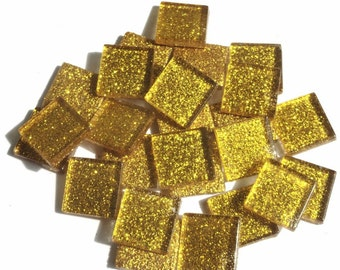 "25 3/4"" Bright Gold Glitter Metallic Glass Mosaic Tiles//Mosaic Supplies//Mosaic"