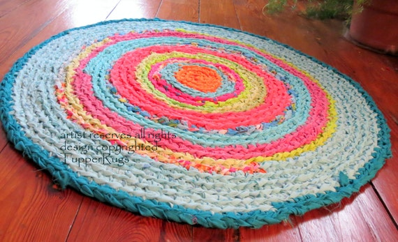 Rag Rug Rag Rugs Round Braided Crochet Lilly