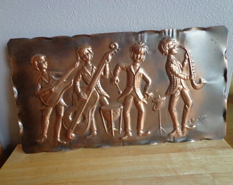 Vintage Kitschy Copper Wall Hanging Retro Decor Boy Band Themed