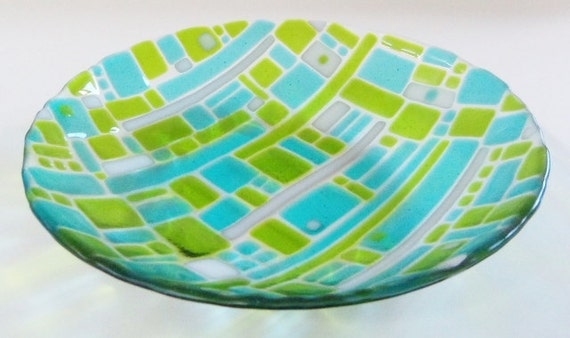 Turquoise BLue and Green Large Fused GLass Bowl