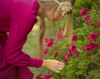 Magenta lurex dress, long sleeve lurex vintage dress, vintage fuchsia pink sparkle maxi dress, 60s 70s deep pink long dress