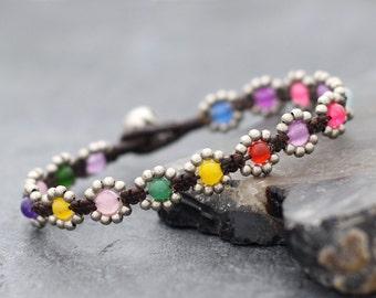 Mini Daisy Rainbow Silver Bracelet