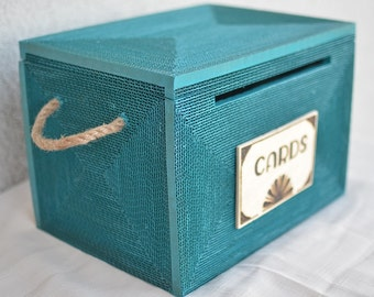 card box,card box, wedding card holder,turquoise, card box with lock ...