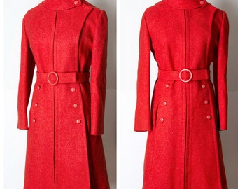 Vintage Lane Bryant Red Mod MILITARY Wool Coat L/XL
