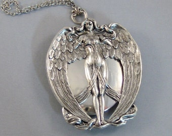 Nike,Winged Goddess,Wings,Angel Locket, Angel Wing,Locket,Victory,Silver Locket,Girl,Goddess,Antique Locket,Woodland,valleygirldesigns.