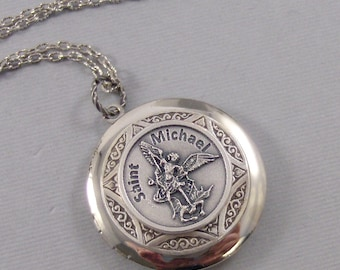 Saint Michael,Necklace,Locket,Silver Locket,Police,Military,Mens,Saint,Michael,Medal,Silver,Saint,Mens Gift,Jewelry Valleygirldesigns.