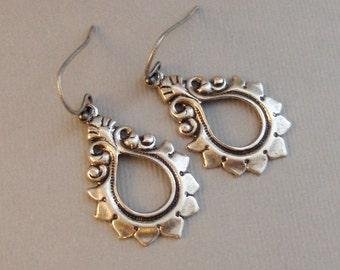 Rue,Earrings,Silver Earrings,Antique,Vintage Style,Wedding,Bride,Antique Earrings,Boho,Hamsa,Boho Earring,Hoop Earring.valleygirldesign