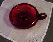 Vintage FENTON Ruby Red Candle Holder, Chamber Stick, Nappy w/Finger Loop