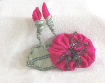 Handmade Fuchsia Silk Flower -  Beaded Flower Pin - Handmade Flower Brooch - Handmade Silk Brooch  - Fuchsia Flower Pin