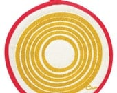 NEW Pot Holders, Yellow Sun, with contrasting binding tape, 10 inch diameter