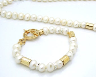 Bridal bracelet with pearls, 14K gold filled & Sterling silver beads