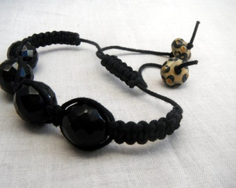 Black Shamballa Bracelet with Lampwork beads
