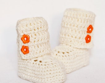 Crochet Baby Booties - Baby Ankle Boots (cream) ready to wear (6-9 months)