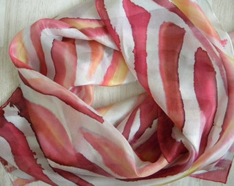 Dark red, white, peach, pink, yellow hand painted silk scarf with abstract lines. One-of-the-kind colorful artscarf painted with cold wax