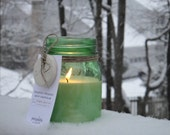 Soy Candle in Ball Jar - Aromatherapy Essential Oil  Candle with LOVE Clay Gift Tag Recycle Storage Jar