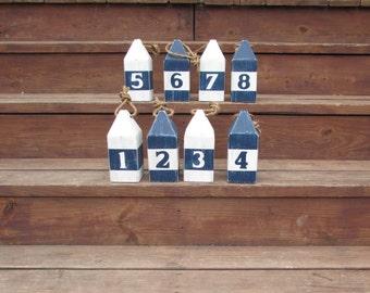 Set of 8 Nautical Buoys. 8 Inch Wedding table Numbers. Party Table Numbers. Nautical Wedding. Beach Wedding. Nautical Table Numbers.