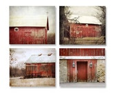 Red Barn Prints Set of 4, Red Barn Photography, Old Red Barns, Farm Landscapes, Rustic Barn Prints, Country Red Barns, Set of 4 Barns