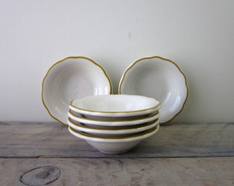 Small White Buffalo China Bowls with Yellow Trim Restaurant Ware