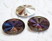 2 -18x13mm heliotrope rivoli star burst oval glass rhinestones - SF134