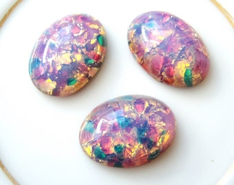 2 - Vintage glass harlequin fire opals 18x13mm foiled pink oval cabochons - RC226