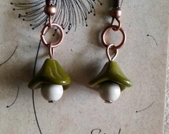 Dangle, Olive Green, Beige, Czech Glass, Flower, Earrings