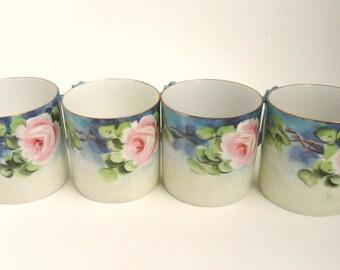 Set of 4 German Porcelain Demitasse Mugs Blue with Pink Flowers C. T. Altwasser// Vintage Espresso Cups //