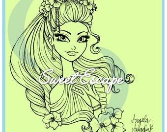 Flower Fairy Digital Stamp