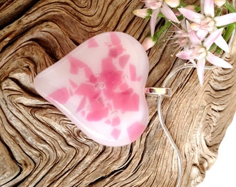 Glass Heart Pendant Necklace -  Fused Glass Jewelry - Pink and White - Valentines Day Gift