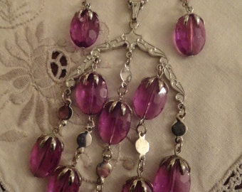 70s  Mod Necklace Earrings Purple Silver Chandelier Sarah Coventry Vintage