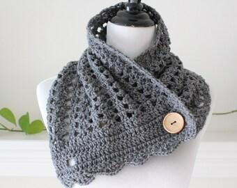 Crochet Gray Cowl, Neckwarmer