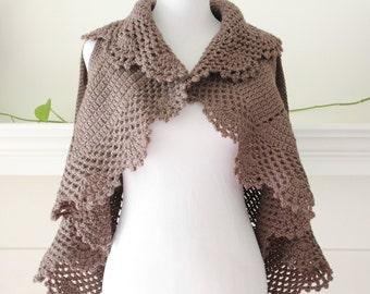 Crocheted Sleeveless Taupe Vest / Sweater