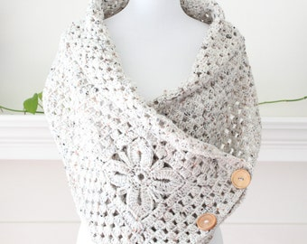 Crocheted Oatmeal Color Scarf, Shawl, Poncho