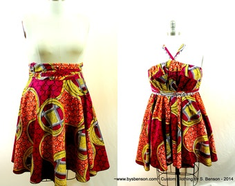 """African Print Convertible Plus Size Short Dress Tunic Skirt Sizes ( 2 - 24 ) 30"""" L ...choose your fabric"""