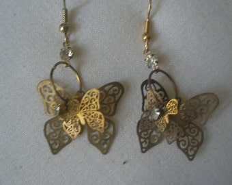 Vintage Gold Tone Triple Level Butterfly and Rhinestone Earrings
