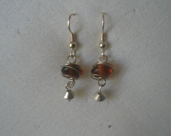 Vintage Silver Tone Wrapped Honey Bead Dangling Earrings