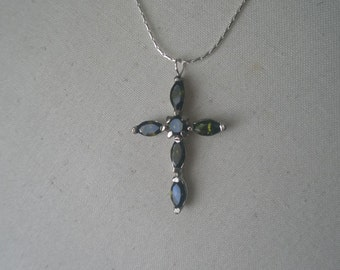 Vintage Silver Crucifix with Six Faceted Peridot Stones on a Silver Chain