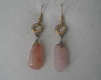 Vintage Rose Quartz Dangling Stone and Gold Tone Earrings